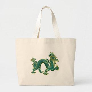 A Green Dragon with Gold Trim Jumbo Tote Bag