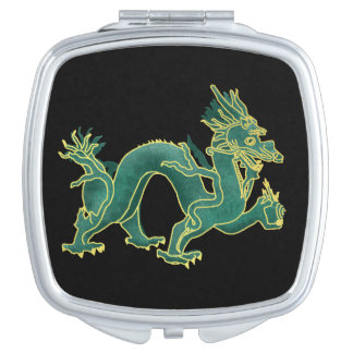 A Green Dragon with Gold Trim Makeup Mirror