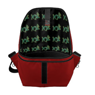 A Green Dragon with Gold Trim Messenger Bags