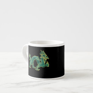A Green Dragon with Gold Trim Espresso Mug