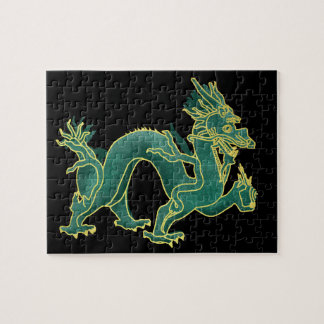 A Green Dragon with Gold Trim Puzzle