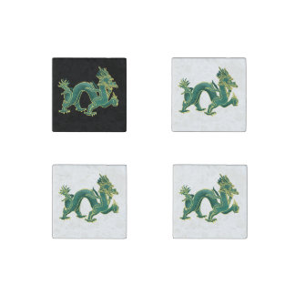 A Green Dragon with Gold Trim Stone Magnet