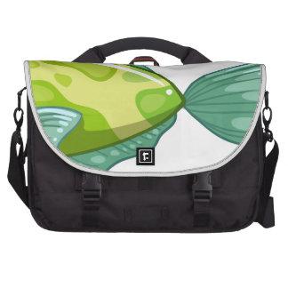 A green fish computer bag