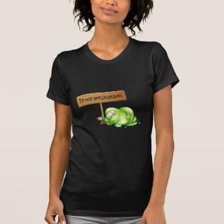A green monster procrastinating beside a signboard t-shirt