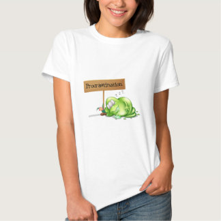 A green monster procrastinating beside a signboard t-shirts