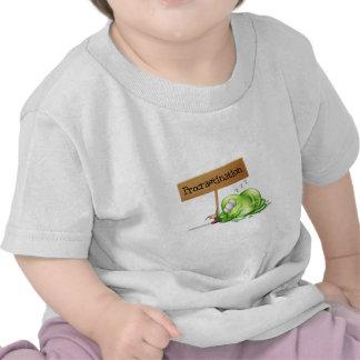 A green monster procrastinating beside a signboard shirts
