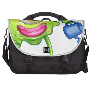 A green monster watering the plant laptop bags
