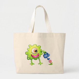 A green monster watering the plant jumbo tote bag