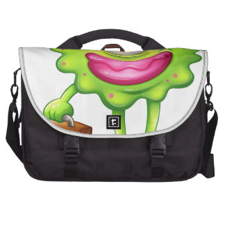 A green monster with an office bag laptop bags