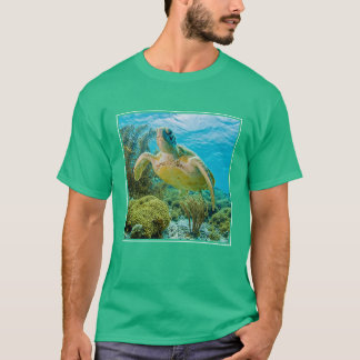 A Green Turtle On The Shallow Reefs Of Bonaire T-Shirt