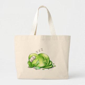 A greenslime monster sleeping jumbo tote bag