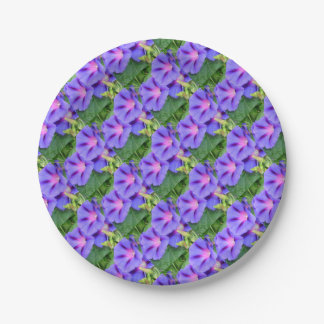 A Group of Beautiful Morning Glories Paper Plate