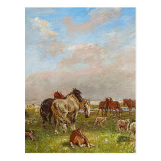 A group of horses, Saltholmen by Theodor Philipsen Postcard
