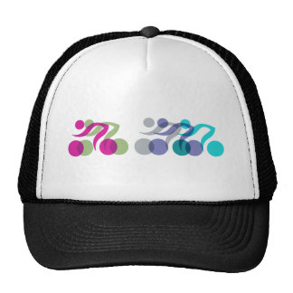 A group of riders hats