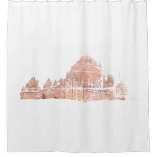 A grunge castle in snow shower curtain