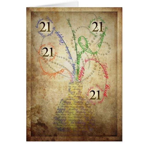 A grungy 21st birthday card