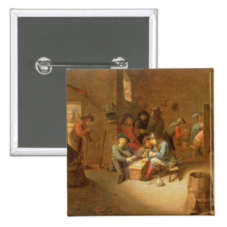 A Guardroom Interior with Soldiers playing Cards ( 15 Cm Square Badge