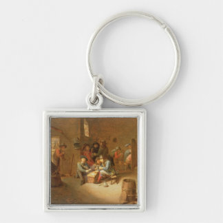 A Guardroom Interior with Soldiers playing Cards ( Silver-Colored Square Key Ring