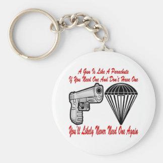 A Gun Is Like A Parachute Keychains