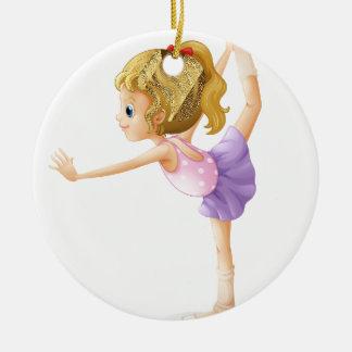 A gymnast ceramic ornament