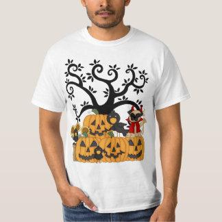 A Halloween Pumpkins, Black Birds and Pug Dog T-Shirt