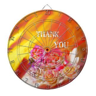 A hand full of thanks tends toward you. dartboard