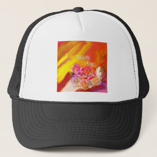 A hand full of thanks tends toward you. trucker hat