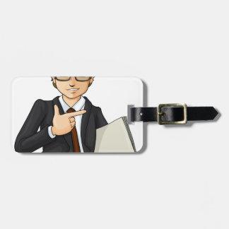 A handsome businessman luggage tag
