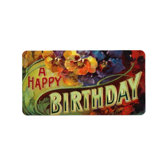 A Happy Birthday Vintage Painted Address Label