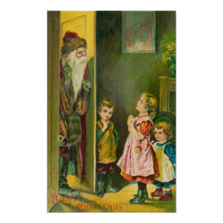 A Happy Christmas Kids Letting Santa In Poster