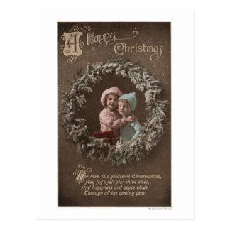 A Happy ChristmasLittle Kids Hugging Postcards