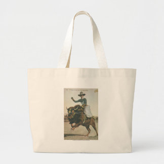 A Happy Cowboy on a Bucking Buffalo. Large Tote Bag