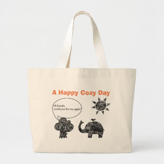 A Happy Cozy Day of an Elephant and his Friends Large Tote Bag