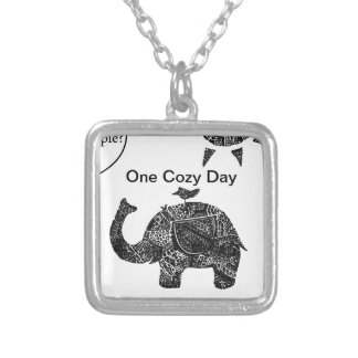 A Happy Cozy Day of an Elephant and his Friends Silver Plated Necklace