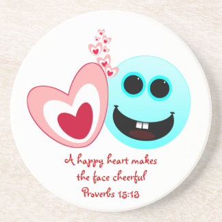 A Happy Heart - Proverbs 15:13 NIV Drink Coasters