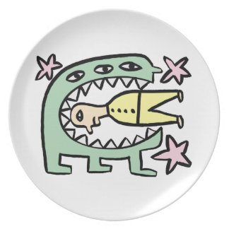 A Happy Monster And His Unhappy Friend Party Plate