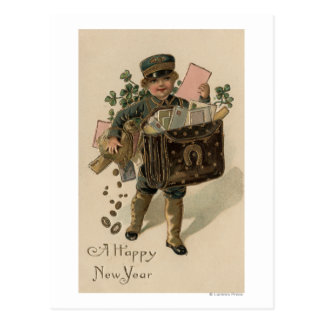 A Happy New YearIrish Mail Boy Postcard