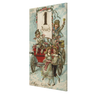 A Happy New YearKids Around a Red Wagon Stretched Canvas Print