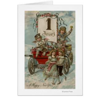 A Happy New YearKids Around a Red Wagon Card