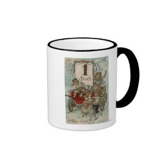 A Happy New YearKids Around a Red Wagon Coffee Mug