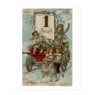 A Happy New YearKids Around a Red Wagon Post Card