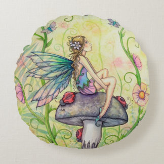 A Happy Place Fairy Fantasy Art Round Cushion