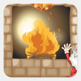 A happy Santa near the fireplace Square Sticker