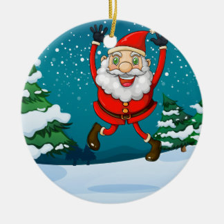 A happy Santa near the pine trees Ceramic Ornament