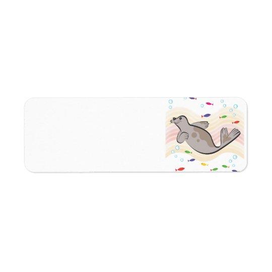 A  happy sea lion return address label