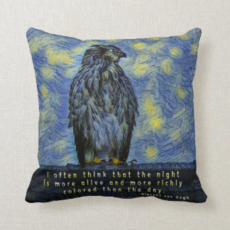 A Hawk Bird on a Roof on a Starry Night Cushion