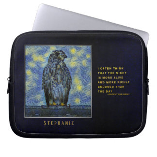 A Hawk Bird on a Roof on a Starry Night Laptop Sleeve