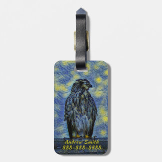 A Hawk Bird on a Roof on a Starry Night Luggage Tag