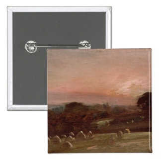 A Hayfield near East Bergholt at Sunset 15 Cm Square Badge