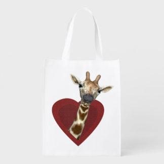 A Heart For Giraffes Reusable Grocery Bag